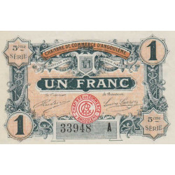 Angoulême - Pirot 9-42 - 1 franc - 5ème série A - 11/04/1917 - Etat : SPL