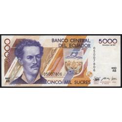 Equateur - Pick 126_AB - 5'000 sucres - 01/12/1987 - Etat : TTB+