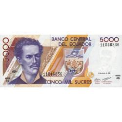 Equateur - Pick 128a2 - Série AG - 5'000 sucres - 21/06/1991 - Etat : NEUF