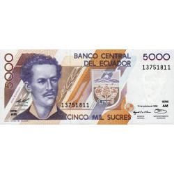 Equateur - Pick 128b4 - Série AM - 5'000 sucres - 31/10/1996 - Etat : NEUF