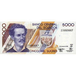 Equateur - Pick 128c2 - Série AÑ - 5'000 sucres - 26/03/1999 - Etat : NEUF