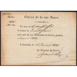 Isère - Grenoble - Louis-Philippe - Cercle de la Rue Neuve - 30 francs - Etat : SUP