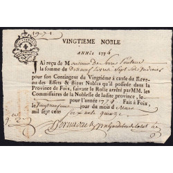 Ariège - Foix - Louis XVI - 1775 - Vingtième des Nobles - 19 livres - Etat : SUP