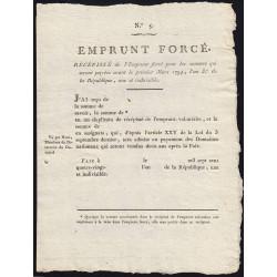 Emprunt forcé - 1794 - Récépissé vierge - Etat : SPL