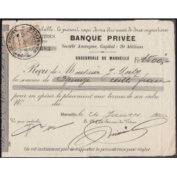 Banque Privée - Marseille - 1910 - Etat : TTB