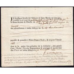 Haute-Vienne - Limoges - Louis XVI - 1783 - Abbaye Saint-Martin - Etat : TTB+