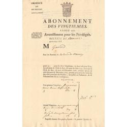 Côte d'Or - Beaune - Louis XV - Abonnement des vingtièmes 1771 - Etat : SUP