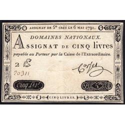 Assignat 12a - 5 livres - 6 mai 1791 - Etat : SUP