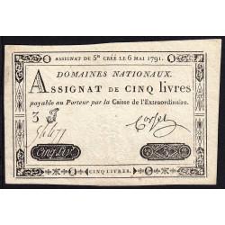 Assignat 12a - 5 livres - 6 mai 1791 - Etat : SUP+