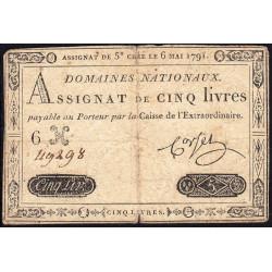 Assignat 12a - 5 livres - 6 mai 1791 - Etat : TB