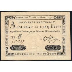 Assignat 19a - 5 livres - 28 septembre 1791 - Etat : NEUF