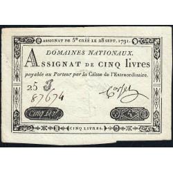 Assignat 19a - 5 livres - 28 septembre 1791 - Etat : SUP