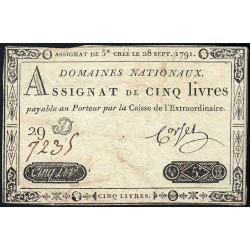 Assignat 19a - 5 livres - 28 septembre 1791 - Etat : TB+