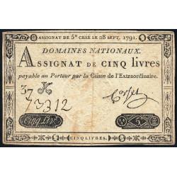 Assignat 19a - 5 livres - 28 septembre 1791 - Etat : TB-