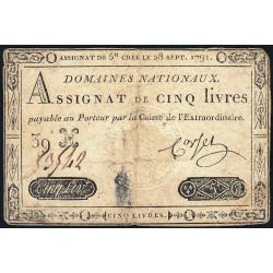 Assignat 19a - 5 livres - 28 septembre 1791 - Etat : B+