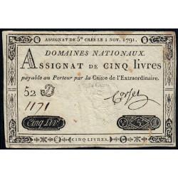 Assignat 20a - 5 livres - 1 novembre 1791 - Etat : TB+