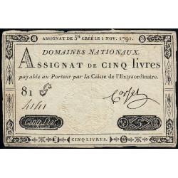 Assignat 20a - 5 livres - 1 novembre 1791 - Etat : TTB-