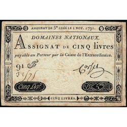 Assignat 20a - 5 livres - 1 novembre 1791 - Etat : TB