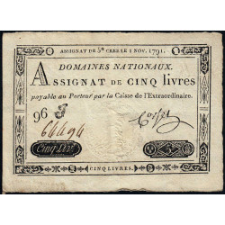 Assignat 20a - 5 livres - 1 novembre 1791 - Etat : TTB+