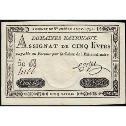 Assignat 20f-19 - Faux 5 livres - 1 novembre 1791 - Série 50 B - Etat : SPL