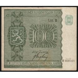 Finlande - Pick 88_10 - 100 markkaa - 1945 - Litt.B - Etat : TTB-