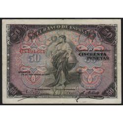 Espagne - Pick 58a - 50 pesetas - 24/09/1906 - Etat : TB+