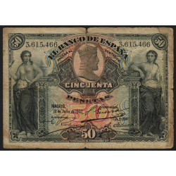 Espagne - Pick 63a - 50 pesetas - 15/07/1907 - Etat : B+