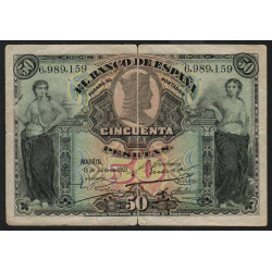 Espagne - Pick 63a - 50 pesetas - 15/07/1907 - Etat : TB-