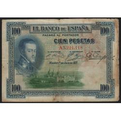Espagne - Pick 69a - 100 pesetas - 01/07/1925 - Série A - Etat : B+