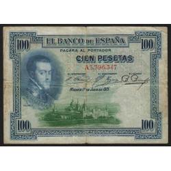 Espagne - Pick 69a - 100 pesetas - 01/07/1925 - Série A - Etat : TB-