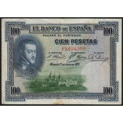 Espagne - Pick 69c - 100 pesetas - 1936 - Série F - Etat : TB+