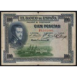Espagne - Pick 69c - 100 pesetas - 1936 - Série F - Etat : TB