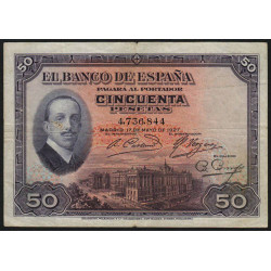 Espagne - Pick 72a - 50 pesetas - 17/05/1927 - Sans série - Etat : TB+
