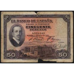 Espagne - Pick 72a - 50 pesetas - 17/05/1927 - Sans série - Etat : AB