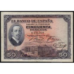 Espagne - Pick 72a - 50 pesetas - 17/05/1927 - Sans série - Etat : TB-