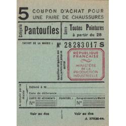 Coupon achat chaussures - Réf : 5/2 - 1944 - Etat : NEUF