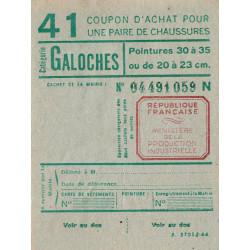 Coupon achat chaussures - Réf : 41 - 1944 - Etat : SPL