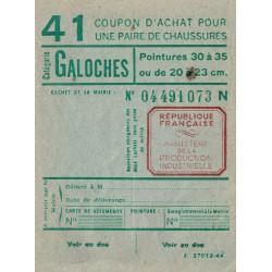 Coupon achat chaussures - Réf : 41 - 1944 - Etat : SUP+