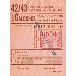 Coupon achat chaussures - Réf : 42/43 - 1944 - Etat : SUP+