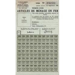 Rationnement - Articles de ménage en fer - 1948 - Etat : SUP