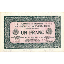 Alençon / Flers (Orne) - Pirot 6-13 - 1 franc - Série F2 - 10/08/1915 - Etat : SUP+