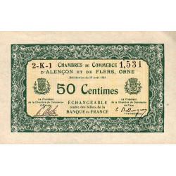 Alençon / Flers (Orne) - Pirot 6-16 - 50 centimes - Série 2K1 - 10/08/1915 - Etat : SUP