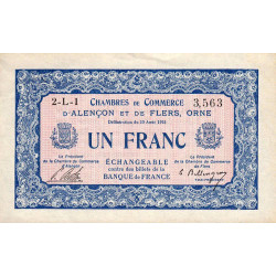 Alençon / Flers (Orne) - Pirot 6-17 - 1 franc - 1915 - Etat : SUP+
