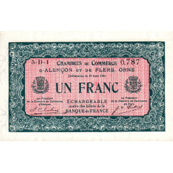 Alençon / Flers (Orne) - Pirot 6-42 - 1 franc - 1915 - Etat : pr.NEUF