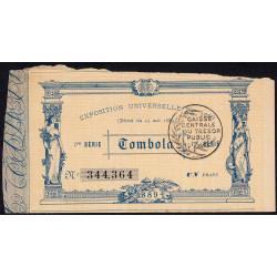 1889 - Paris - Loterie - Exposition Universelles - Etat : TTB-