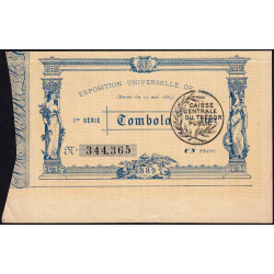 1889 - Paris - Loterie - Exposition Universelles - Etat : SUP