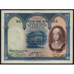 Espagne - Pick 73c - 500 pesetas - 24/07/1927 - Sans série - Etat : TTB+