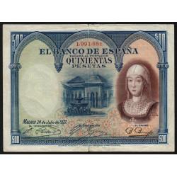 Espagne - Pick 73c - 500 pesetas - 24/07/1927 - Sans série - Etat : TB+