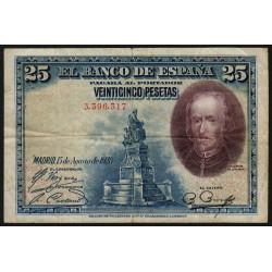 Espagne - Pick 74b - 25 pesetas - 15/08/1928 - Sans série - Etat : TB+