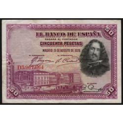 Espagne - Pick 75c - 50 pesetas - 1936 - Série D - Etat : TB